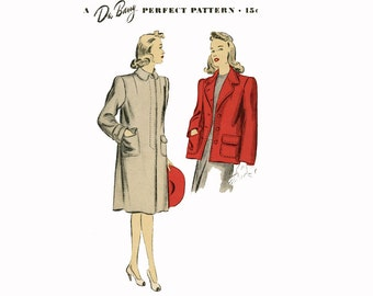 1940s Swing Coat Jacket Pattern DuBarry 5232 Bust 32 Womens Vintage Sewing Pattern Misses Length Collar and Sleeve Variations UNCUT