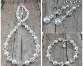 Pearl Bridal Jewelry Set, Wedding Jewelry Set, Pearl Statement Necklace, Bridal Bracelet Earring Set, Bride Jewelry Set, Bride Pearls