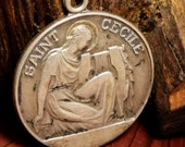 Saint Cecile Patron Saint of Musicians Sterling Vintage Religious Medal Pendant on 18 inch sterling rolo chain