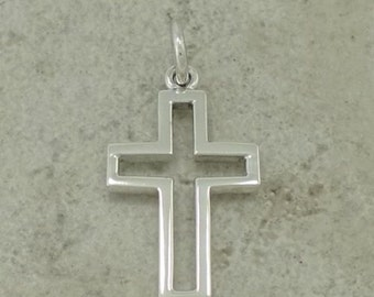 Sterling Silver Open Cut Cross Religious Pendant on Black Satin Cord