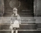 Girl with Antlers, Black and White, Mixed Media Collage, Vintage Photography, Weird Art Print