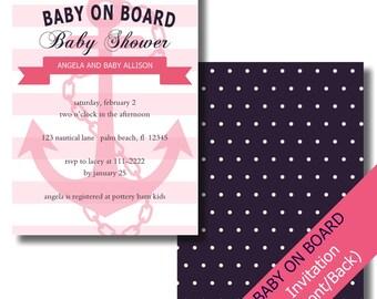 Nautical Baby Shower Invitation Girl | Nautical Baby Shower | Anchor Invitation | Ahoy Baby Shower | Polka Dots | Printable Invitations