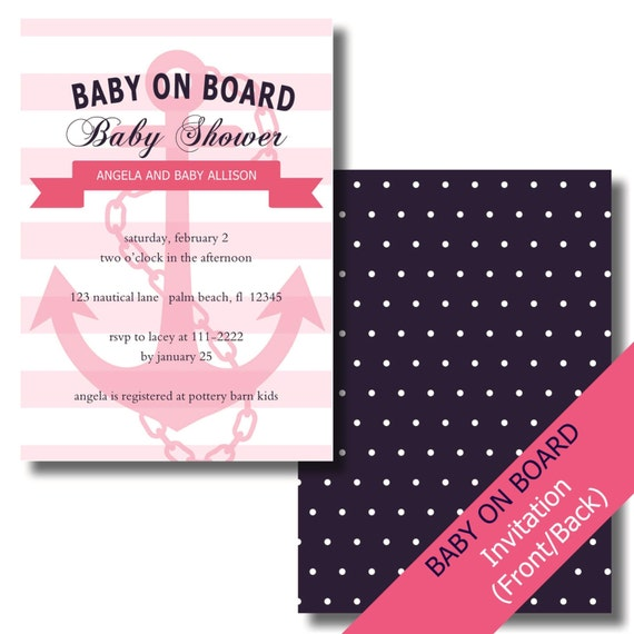 nautical baby shower invitation girl nautical baby shower anchor