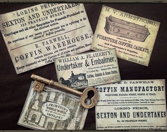 Coffins and Undertakers - Victorian Ads Sticker Set