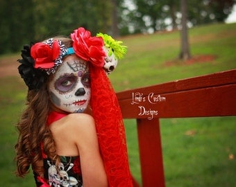 Day of the Dead Costume for Toddlers, Girls, Bold, Bright, and Festive for Holidays, Costume, Pageants