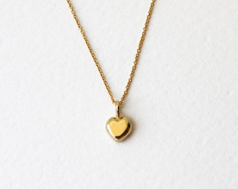 14k Gold heart necklace, 14k Solid Gold necklace, 14k Yellow Gold necklace, necklace for daughter, dainty gold heart necklace