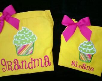 Personalized Apron Set Adult & Child Cupcake Applique