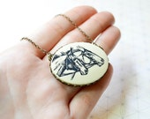 Cameo Horse Necklace - Equestrian - Vintage Inspired Jewelry - Horse Jewelry - Animal Necklace - Derby Jewelry