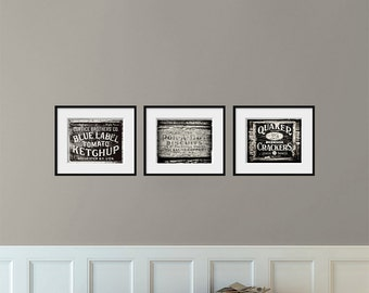 Black and white art kitchen decor rustic home decor for Black kitchen wall decor