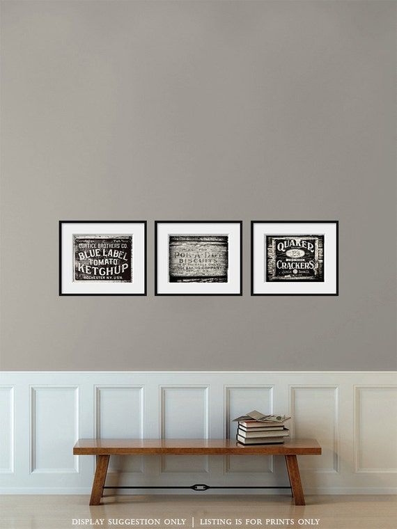 White Kitchen Wall Decor : Black and white art kitchen decor rustic home by