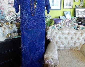 Blue beaded flapper dress 1920s bridesmaids dress mob 1920s dress wedding perfect