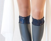 Womens Boot Cuffs Victorias Secret Lace Boot Socks Lace Boot Cuff Dark Blue Bridesmaid Gifts Fall Weddng