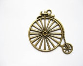 SALE - 2 Larger Bicycle Pendants in bronze tone - C799