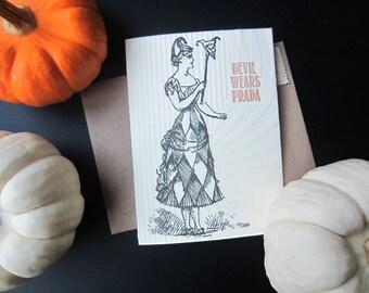 119 : Letterpress Halloween Card, Costume, Boo, Ghoul, Bat, Vampire