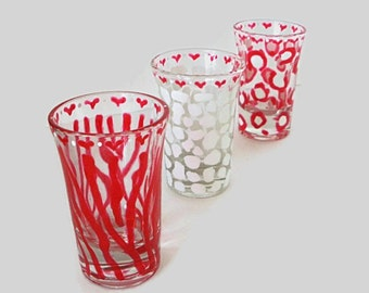 Hand painted animal print shot glasses, set of 3 cute shot glasses with Z e b r a  G i r a f f e  C h e e t a h design
