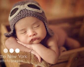 Newborn photo prop, Baby/newborn pilot aviator hat .newborn photography prop, newborn hat, newborn boy, newborn girl, newborn knit hat, baby