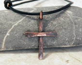 Rustic Men's Hammer Textured Copper Cross - Oxidized finish - Adjustable leather cord