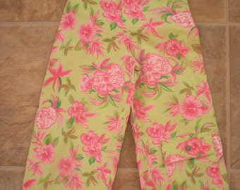 1980s Girl's Green and Pink Hawaiian Pineapple Capri Pants, Size 7