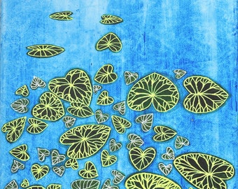 Nursery zen art print, Water lilies, water painting, water print, lily pad print, lily pad painting, india, Lily Pads