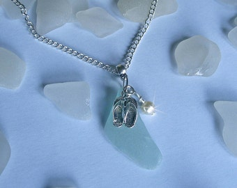 Sea glass necklace with flip flops. Beach sea glass jewelry