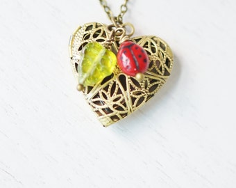 heart locket jewelry,petite lady bug necklace,leaf locket,whimsical romantic jewelry,photo locket necklace,bridesmaid gift,garden wedding