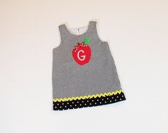 GIRLS SCHOOL DRESS Jumper Size 6 months to 8 Monogram Apple Plaid Fall School Clothes