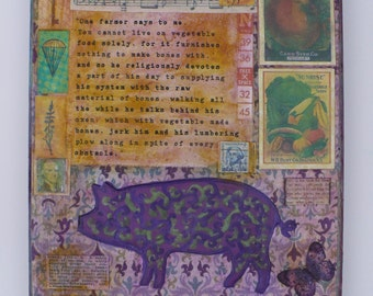 Thoreau Vegan Quote Wall Art, Collage, Purple