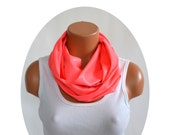 Long Infinity Scarf Metallic Coral Lightweight Scarf Unisex Ascot Peach Neck Warmer Circle Scarf Womens Scarves Autumn Scarf Gift for Her
