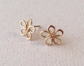 Tiny Gold Flower Post Earrings