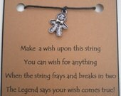 Ginger Bread Man Christmas WISH STRING Bracelet Charm Band GINGERBREAD Man  Cord Color Choice