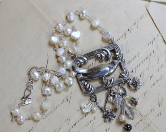 Nest- Sterling Silver and Grade A Freshwater Pearls- Vintage Assemblage Necklace- One of a Kind