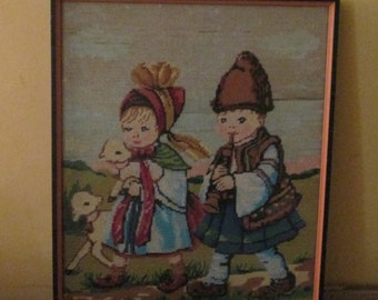 Vintage Needlepoint Boy GIrl Lambs / Boy Playing Flute / Hummel
