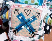 ROBOT WOAH BOT Fabric Friend - with Handpainted Arrows and Heart - Plush Toy