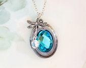 Lockets - Dragonfly Locket, Aquamarine Blue Crystal Necklace  March Birthstone Picture Locket Friendship Gift Idea