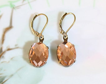 Peach Earrings Champagne Peach Earrings Prom Wedding