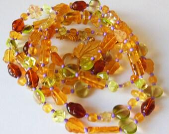 Sun and honey Czech glass handmade necklace  065