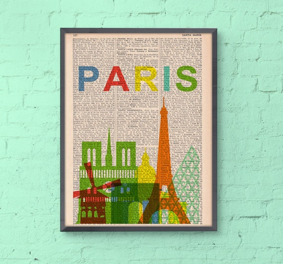 Spring Sale Paris skyline print art -Vintage Book Print - Paris Skyline Print on Vintage Book art BPTV032