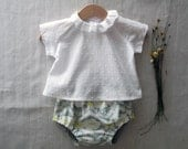 Newborn heirloom baby summer spring outfit. Baby layette. Sizes 3-18 months. Made to order.