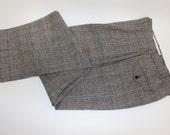 """vintage Men's -Polo- pleat front trousers. Black & White Glen plaid w/ Blue windowpane - Linen / Cotton blend. 33"""" Waist"""
