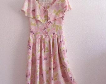 Romantic Vintage 1940's Style Floral Sundress Small Medium