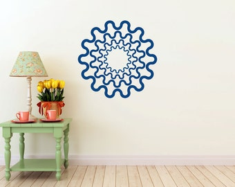 Wall DECAL- steampunk/cogs Gear Ring, vinyl Wall DECAL- interior design, sticker art, room, home and business decor