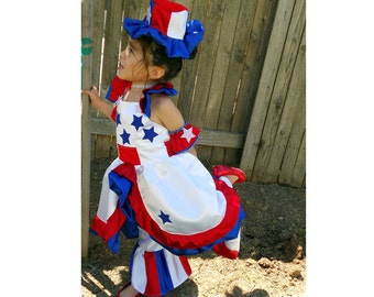 Pageant OOC baby toddler RWB Patriotic America Wear Team Spirit USA Flag Casual wear Glitz  america wear talent wear custom 12m up to 10 yrs