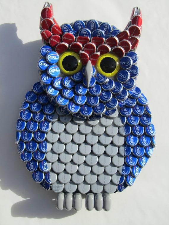 Owl art metal bottle cap bud light bottlecaps fau owls for Bottle cap hat diy