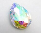 AURORA BOREALIS - Large Pastel Rainbow AB Pear Shape Crystal - 30mm x 20mm - Jewelry Supplies