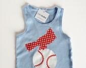 Cardinal Bird on a Baseball Light Blue Tank Top for Girls, Infant, Toddler, Blue