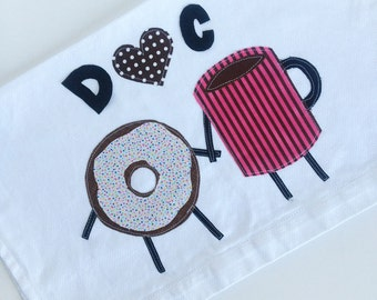 Donut and Coffee Kitchen Towel - Second Anniversary, Wedding, Housewarming Gift