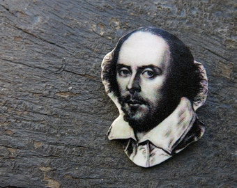 English Teacher Gift Literature Shakespeare Bookworm for Her Brooch Classic Author Portrait Geek Geekery Jewellery Pin
