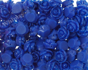 Royal Blue Rose Beads, Flower Beads, Drilled Flowers, 9mm Flower Beads, Tiny Flower Beads, 1mm Hole (R6-174)