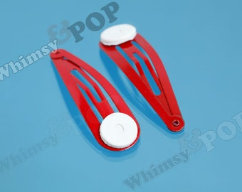 Red Snap Clip Hair Clips, Snap Clips, Metal Hair Clips, Hair Accessory Blanks, 47mm x 13.5mm (C2-13)