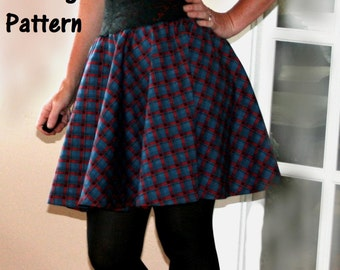 Womens Sewing Pattern Circle Skirt Printable Pattern & PDF Sewing Tutorial High Waist Low Waist